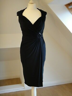 M&S Marks & Spencer Autograph Black Wrap Dress size 8