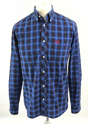 Fred Perry Blue Tartan Check Long Sleeve Button Down Cotton Shirt Casuals, M
