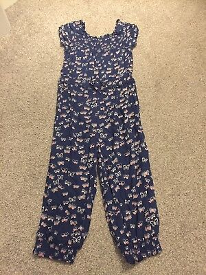 Bluezoo Debenhams Blue Butterfly Long Girls Playsuit Catsuit 3-4 Years