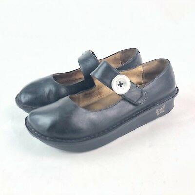 Alegria Paloma Womens 39 Solid Black Leather Wedge Heel Mary Jane Comfort Shoe