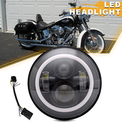"Black 7"" LED Daymaker Projector Style Headlight Fit Harley Touring Road King"