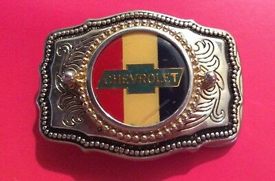 Vintage Chevrolet Chevy Corvette Sports Car Truck Logo Belt Buckle