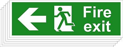 Fire Exit Safety Signs - Running Man Arrow Left (Various Sizes Available) (1/5)