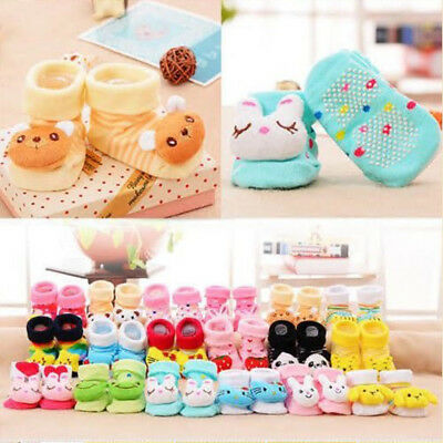 2PCS Newborn Baby Girls Boys Anti-slip Warm Socks Cartoon Slipper Shoes Boots