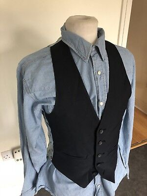Vintage 70's Blue Navy Dress Dandy Mod Dapper Waistcoat Vest X Small