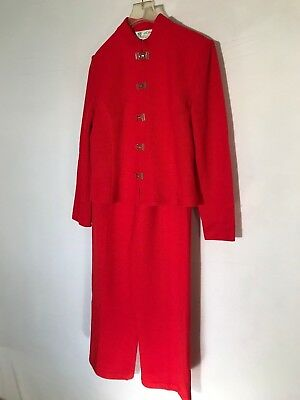 St.john Collection By Marie Gray Red Santana Knit 2Pc Pants Jacket Suit Sz 6