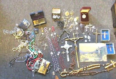 Miscellaneous lot of 80+ religious items, medals, Rosary, etc
