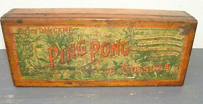 ANTIQUE Vintage Rare Wooden Ping Pong GOSSIMA Box Crate ~ Display Props ~ c.1900