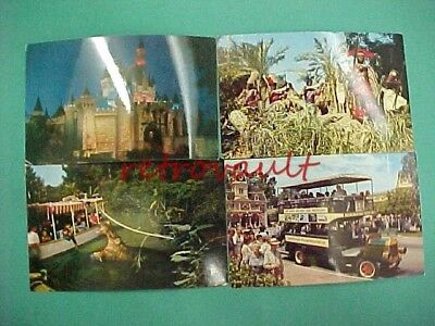 Lot of 4 Vintage Disneyland Actual Photo Post Cards Explorer's Boat Omnibus