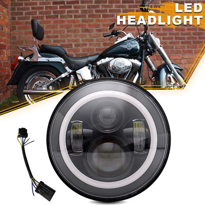"Black 7"" LED Daymaker Projector Style Headlight Fit Harley Street Glide Touring"