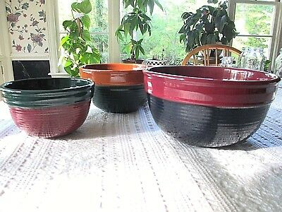 Lot of 3 Heavy Vintage Nesting Mixing Bowls - Excellent condition