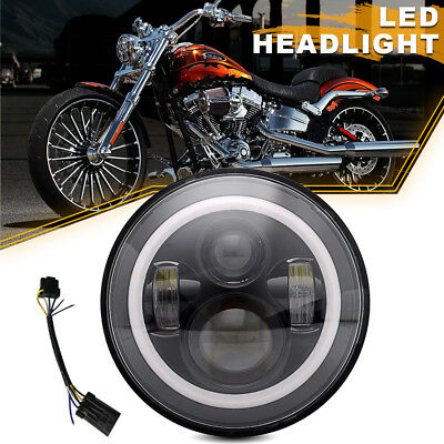 "Black 7"" LED Daymaker Projector Style Headlight Fit Harley Electra Glide Touring"