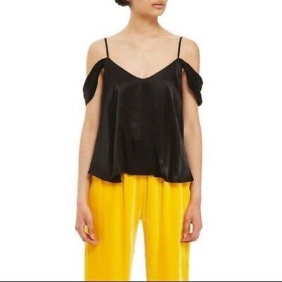 3751e2afaddaf NWT Topshop Black Draped Satin Cold Shoulder Camisole Tank Top Blouse Size  2 NEW