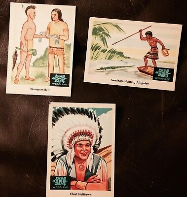 3 Fleer Woodland Indians Trading Cards Native American #20-35-80 Chief Halftown