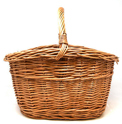 High Sided Strong Wicker Hand Shopping Basket with Carry Handle Picnic Storage