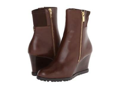 Michael Michael Kors Aileen Wedge Mocha Brown Leather Ankle Booties Boots 9.5 10