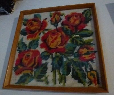 Small Framed Vintage Tapestry Of Red & Yellow Roses