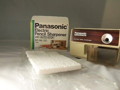 Vtg KP-110 Panasonic Auto-Stop Electric Pencil Sharpener w/Box Works Great EUC