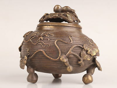 Chinese Antique Bronze Carving Gourd Leaf Statue Incense Burner