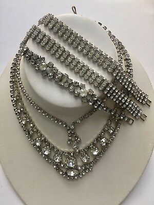 Vintage Rhinestone Necklace Bracelet Repair Lot 6Pc Costume Jewelry