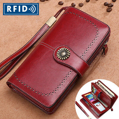 RFID Women's Genuine Leather Long Hollow Out Wallet Money Card Holder Clutch New