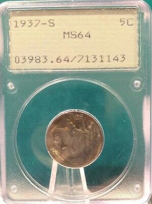 1937-S PCGS Buffalo Nickel PCGS MS64 OGH Old Green Holder