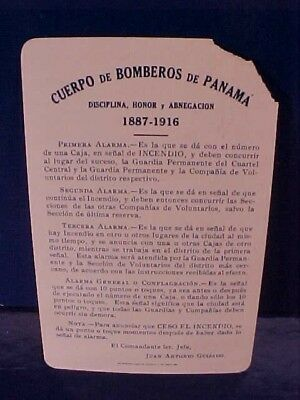 1916 PANAMA CANAL Zone FIRE DEPARTMENT Celluloid ALARM LOCATION CARD