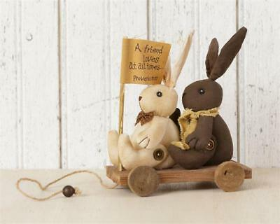 New Primitive Country A FRIEND LOVES AT ALL TIMES Easter Bunny Doll Wagon