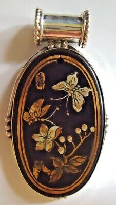 Vintage hand painted Japanese signed sterling & wood? ebony? stone? pendant