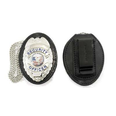 HP Universal Shield Leather Badge Holder with Free Neck Chain