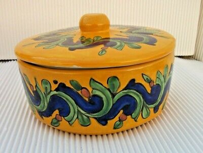 Vintage Nice Hand Painted Mexican Pottery Decorative  Pot With Lid