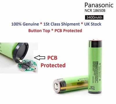Genuine Panasonic 3400mAh 18650 Rechargeable Battery PCB Protected Button Top UK