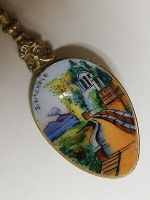 Antique Italian  Hand Painted , Enameled  Capri Silver Plated Spoon