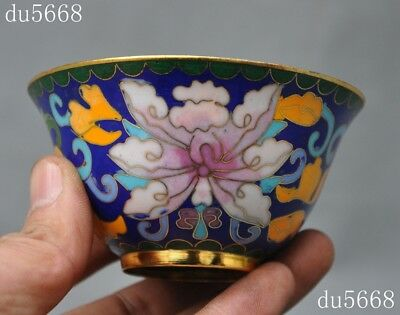 old Chinese antique palace dynasty bronze Cloisonne enamel Gilt flower cup bowl