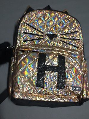 Justice Girls CAT Ears Initial Letter H Rose Gold Quilted BACKPACK Bookbag NEW