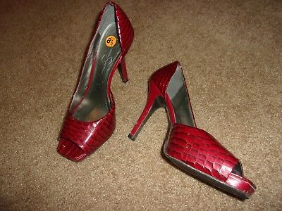 543e76e3a237 Jessica Simpson Red Faux Alligator Leather Peep Toe Heels Size 8.5 Medium