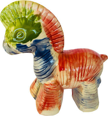 "Zebra Collectible Ceramic Figurine Multi Colored Rainbow 3.25""X 4"""