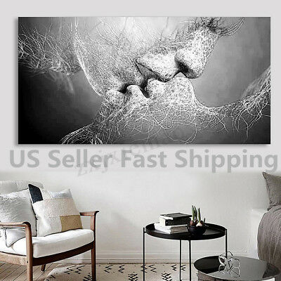 Black & White Love Kiss Abstract Art Canvas Painting Wall Picture Print Framed