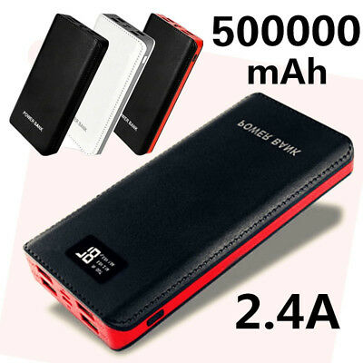 4 USB LCD Digital Fast Charging Black Power Bank 500000mAh Battery Pack Charger