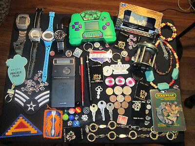 Junk Drawer Lot estate sale old coins old marbles jewelry old fishing reel casio