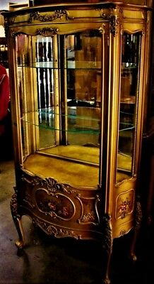 Gorgeous Antique French Louis Style Gold Gilt, Hand Painted Vitrine Cabinet