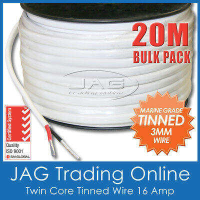 20M x 3mm MARINE GRADE TINNED 2-CORE TWIN SHEATH CABLE / BOAT ELECTRICAL WIRE