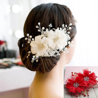 White Floral Crystal Wedding Beads Bridal hair Accessories piece Tiara Head band