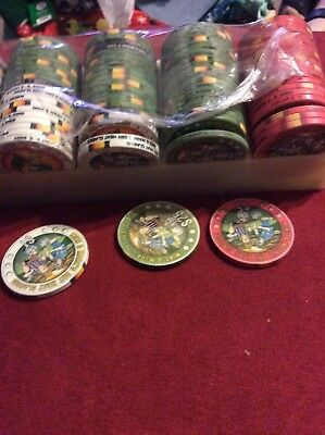 Printed Poker Chips, $1, $5 And $25 Denomination, 100 Count
