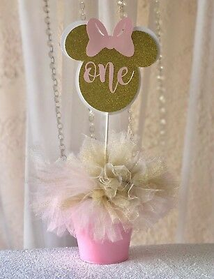 Light Pink Gold Minnie Mouse Birthday Party Centerpiece Table