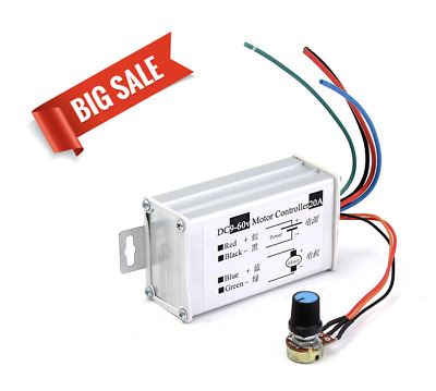 hot12V 24V 20A Max PWM DC Motor Stepless Variable Speed Controller 25kHz Switch