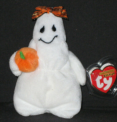 TY GHOULIANNE the GHOST HALLOWEENIE BEANIE BABY - MINT with MINT TAGS