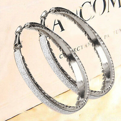 Ladies Girl Crystal Diamante Rhinestone Silver Plated Hoop Round Earring Jewelry