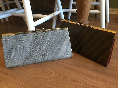Vintage Real Snake Skin Brown And Silver/grey Clutch Bags
