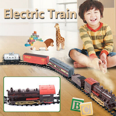 Kids Toys Classic Steam Smoke Electric RC Train Model Passenger Carriage Gift AU